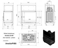 Топка AMELIA/P/BS, Г-образное стекло справа