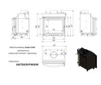 Топка с водяным контуром ANTEK/R/PW/8/W, панорамное стекло