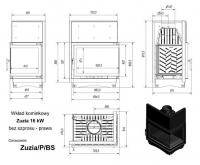 Топка ZUZIA/P/BS, Г-образное стекло справа