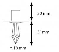 Хрустальная насадка Cariitti CR-31 хром длина кристалла 31 мм