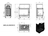 Топка AMELIA/L/BS/DECO, Г-образное стекло слева