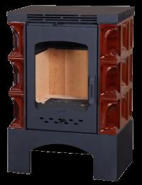 Печь-камин ЭкоКамин Бавария изразец-металл коричневая Арка