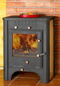 Печь-камин ЭкоКамин Бавария с плитой чугунная и теплообменником
