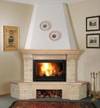 Облицовка Aster Giallo для каминных топок серии 700мм с деревянной балкой