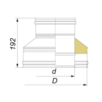 Переходник термо-моно (на конус) для дымохода Вулкан V50R 130/230