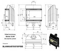 Топка BLANKA/670/570/P/BS, Г-образное стекло справа