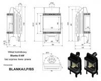 Топка BLANKA/LP/BS, Г-образное стекло слева справа