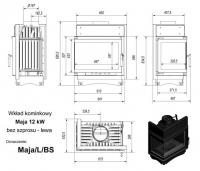 Топка MAJA/L/BS, Г-образное стекло слева