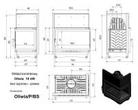 Топка OLIWIA/P/BS, Г-образное стекло справа