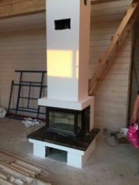 Монтаж камина в двухэтажном здании под финишную отделку из газобетона