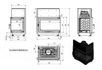 Топка OLIWIA/P/BS/DECO, Г-образное стекло справа