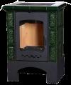 Печь-камин ЭкоКамин Бавария изразец зеленая Барокко угол прямой