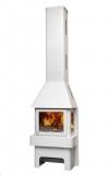 Печь-камин ЭкоКамин Бавария три стекла, белая